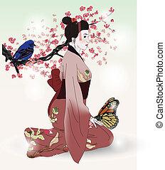 beau, image, geisha