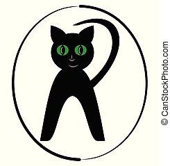beau, isolé, forme., logotype, arrière-plan., noir, chaton, ovale, chat blanc