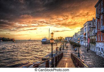 beau, italie, (hdr), venise, méditerranéen, rivage, coucher soleil, mer, mer