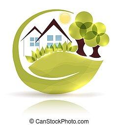 beau, jardin, maison, arbres, vert, pousse feuilles, icône, conception, lueur
