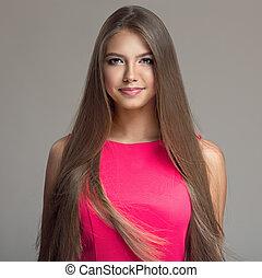 beau, jeune, long, hair., portrait, woman.