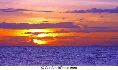 beau, koh samui, voile, ondulation, sur, ciel, nuages, surprenant, ships., coucher soleil, 4k, mer, vidéo, eaux