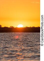 beau, lac, levers de soleil