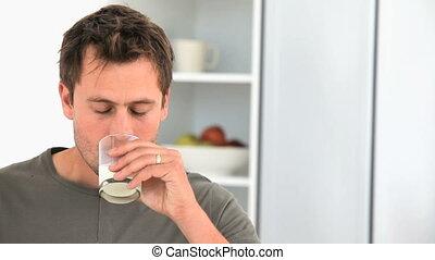 beau, lait, verre, homme, boire