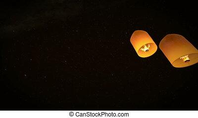 beau, lanternes, voler