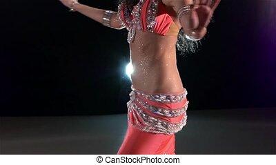 beau, lent, torse, jeune, lumière, dos, mouvement, danseur, ventre, noir, girl, brillant