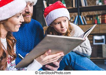 beau, livre lecture, famille