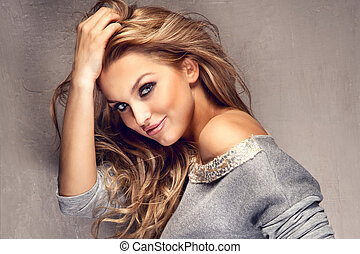 beau, longs cheveux, portrait, blond, girl