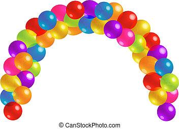 beau, lotissements, balloon, arc, transparence