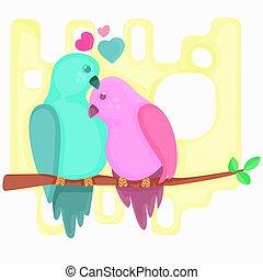 beau, love.illustration, dessin animé, branche, oiseaux