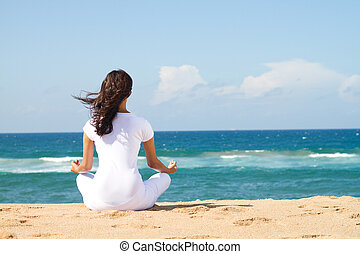 beau, méditation, femme, jeune