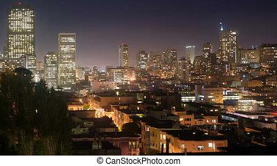 beau, maisons, bâtiments, francisco, voisinage, san, lueurs, lumière, sur, californie