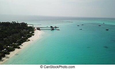 beau, maldives, aérien, île, plage tropicale, vue