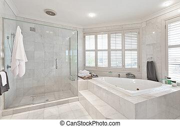 beau, manoir, salle bains, moderne, australien
