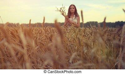 beau, marche, femme, blé, maïs, jeune, main, champ, slowmotion., toucher, field., coucher soleil, girl, hd, 1920x1080, oreilles