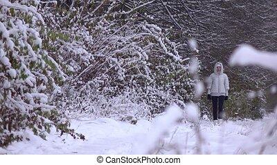 beau, marche, femme, coup, hiver, neigeux, gris, jeune, veste, forêt, 4k