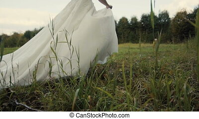 beau, mariée, parc, runing