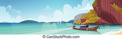 beau, marine, bord mer, désirent ardemment queue, bateau, thaïlande, plage, asiatique, paysage, vue