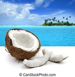 beau, marine, noix coco, fond blanc