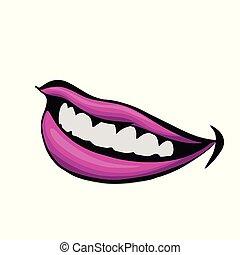 beau, mat, femme, rouge lèvres, pourpre, haut, illustration, lèvres, fin, .vector, vue
