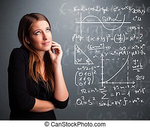 beau, mathématique, école, pensée, sur, complexe, signes, girl