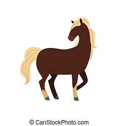 beau, mignon, cheval, brun, jambe, longs cheveux, blanc