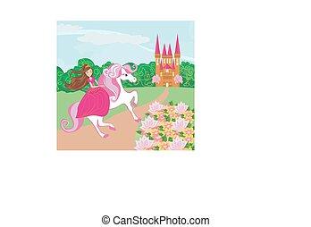 beau, mignon, cheval, princesse, elle