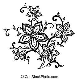 beau, modèle, élément, conception, floral, noir, blanc