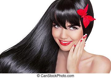 beau, modèle, femme, mode, beauté, sain, blanc, isolé, long, charme, arrière-plan., clair, brunette, noir, maquillage, hair., portrait, sourire, vacances, girl, heureux