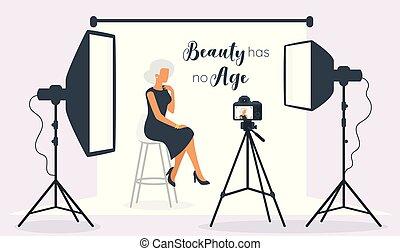 beau, modèle, femme, vieux, personnes agées