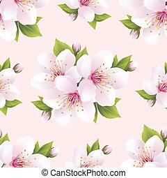beau, modèle, fleurs, seamless, sakura