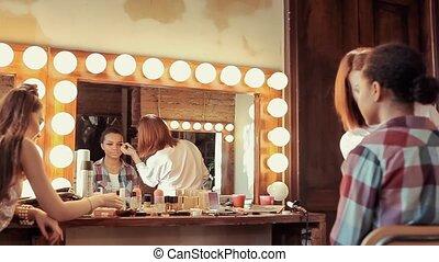 beau, modèle, salon., beauté, africaine