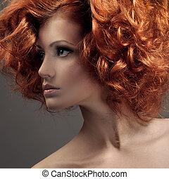 beau, mode, bouclé, portrait., hair., woman.