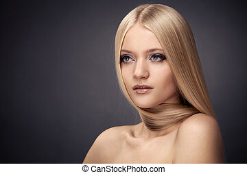 beau, mode, sain, maquillage, cheveux, girl., blonds