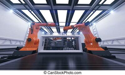 beau, montage, animation., robotique, technologie informatique, 3840x2160., convoyeur, concept., bras, avancé, belt., 3d, process., business, automatisé, cas, hd, 4k, industriel, ultra, futuriste