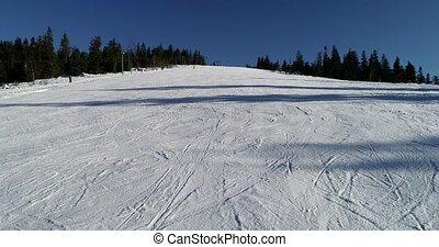 beau, montagne, aérien, neigeux, gens, resort., ski, coup, ski