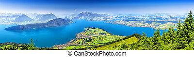 beau, montagne, central, alpes, ), (vierwaldstattersee, lac, pilatus, suisse, luzerne, switzerland., rigi, vue