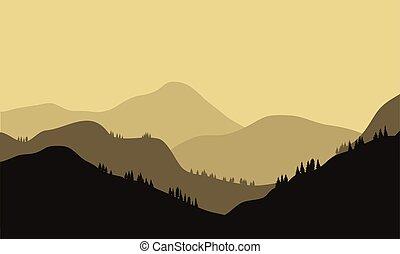 beau, montagne, coucher soleil