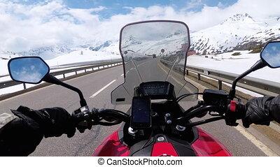 beau, montagne, promenades, route, neigeux, paysage, alpes, suisse, motocycliste