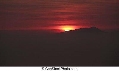 beau, montagne, sur, levers de soleil