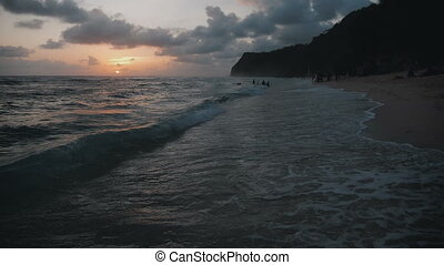 beau, montagnes, bali, océan, exotique, surprenant, coucher soleil, vagues, plage