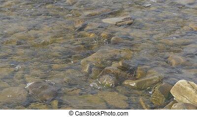 beau, montagnes, ceci, sur, scène, fluxs, rochers, automne, rivière