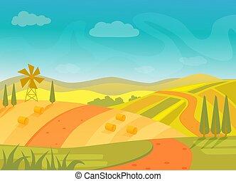 beau, montagnes, illustration., collines, vecteur, village, paysage rural