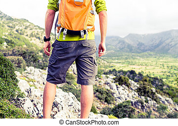 beau, montagnes, randonnée, regarder, vue, homme