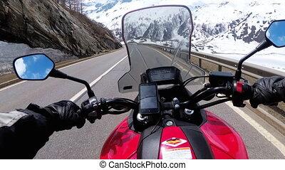 beau, motocycliste, route, promenades, montagne, suisse, alpes, paysage, neigeux