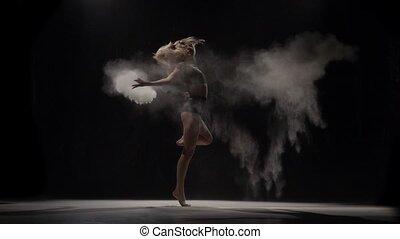beau, mouvement, lent, lancement, air., particules, interprète, poussière