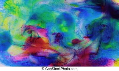 beau, multi, coloré, drop., water., zoom, dissous, eau, encre, coloré