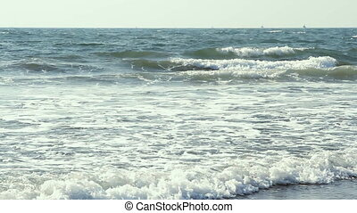 beau, océan bleu, goa, vague