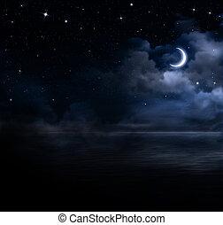 beau, ouvert, ciel, mer, nuit