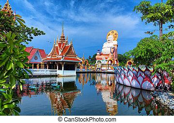 beau, pagode, nature, voyage, exotique, arrière-plan., bouddha, thaïlande, temple